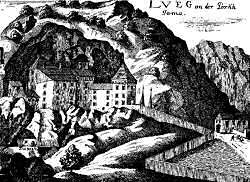 Predjama Castle in 1689